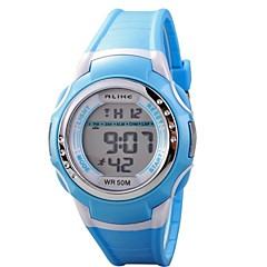 Gyerekek Sportos óra digitális karóra Kvarc Digitális LCD Vízálló PU Zenekar Fekete Kék Pink Bíbor Sárga