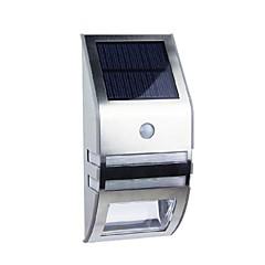 abordables Luces de Exterior-2-LED blanco solar del acero inoxidable de pared de luz con sensor de movimiento PIR
