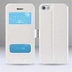 Недорогие Кейсы для iPhone-Кейс для Назначение iPhone 5 Apple Кейс для iPhone 5 со стендом с окошком С функцией автовывода из режима сна Флип Чехол Сплошной цвет