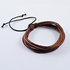 Недорогие Браслеты-Муж. Кожаные браслеты - Кожа Коричневый