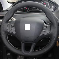abordables Accesorios de Interior para el Automóvil-Xuji ™ cubierta de la rueda de dirección de cuero negro genuino para peugeot 208
