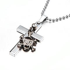 Недорогие Ожерелья-Стразы Серебрянное покрытие Ожерелья с подвесками - Череп Ожерелье Назначение Для вечеринок Спорт