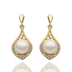 preiswerte Ohrringe-Damen Tropfen-Ohrringe - Künstliche Perle, Strass, vergoldet Modisch Für Hochzeit / Party / Alltag