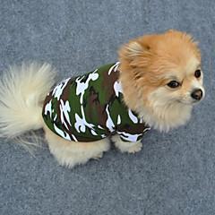 お買い得  犬用ウェア&アクセサリー-犬 Tシャツ 犬用ウェア カモフラージュ グリーン コットン コスチューム ペット用 男性用 女性用 ファッション