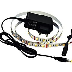 jiawen® 1m 5w 60x5050smd 3000-3200K warm wit led flexibele strook licht + 1a vermogen (ac 110-240v)