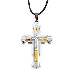 Недорогие Ожерелья-Ожерелья с подвесками  -  Кожа Крест Серебряный, Золотой + серебро Ожерелье Назначение Новогодние подарки, Повседневные