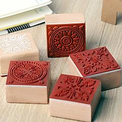 4cm x 4cm vendimia plaza romántica patrón de flor floral sello de madera (patrón aleatorio