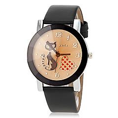 voordelige Bekijk deals-Dames Modieus horloge Kwarts PU Band Heart Shape Cartoon Zwart Orange