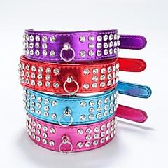 お買い得  犬用首輪/リード/ハーネス-ネコ 犬 カラー 反射 ラインストーン PUレザー パープル ローズ レッド