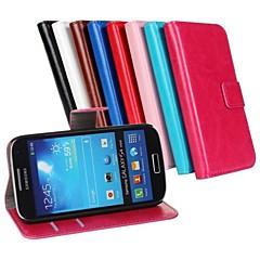 olcso Galaxy S4 Mini tokok-Mert Samsung Galaxy tok Kártyatartó / Állvánnyal / Flip Case Teljes védelem Case Egyszínű Műbőr Samsung S4 Mini