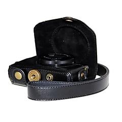 hesapli -Canon PowerShot G7 x g7x için omuz askısı retro pu deri litchi tane kamera durumda dengpin®
