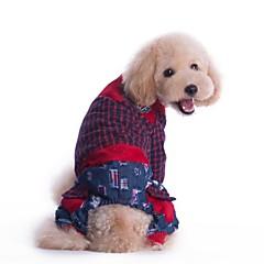 お買い得  犬用ウェア&アクセサリー-犬 ジャンプスーツ 犬用ウェア 格子柄 レッド グリーン コットン コスチューム ペット用 男性用 女性用 ファッション