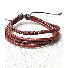 billige Herre Smykker-z&X® vintage tibetansk multilag mænds læder armbånd (1pc, 3 colors muligheder: sort, kaffe, sort og hvid)