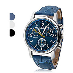 cheap -Men's Wrist Watch Quartz Casual Watch Leather PU Band Analog Casual Black / White / Blue - White Black Blue One Year Battery Life