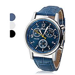 preiswerte Tolle Angebote auf Uhren-Herrn Armbanduhr Quartz Armbanduhren für den Alltag Leder PU Band Analog Freizeit Schwarz / Weiß / Blau - Weiß Schwarz Blau Ein Jahr Batterielebensdauer