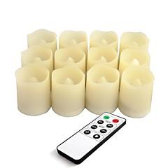 preiswerte Ausgefallene LED-Beleuchtung-Satz von 12 Farbe Elfenbein Plastik führte flammenlose Kerzen mit Fernbedienung und Timer