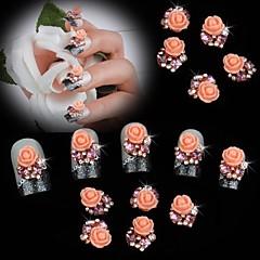 abordables Joyas de Uñas-10pcs perla rosa rosa flor 3d rhinestone decoración DIY accesorios arte de uñas