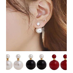 cheap Earrings-Women's Pearl Imitation Pearl Stud Earrings Front Back Earrings - Double Sided Simple Style Ball For Wedding Party Daily Casual