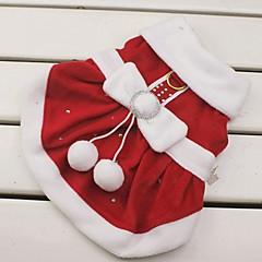 tanie Odzież dla kota-Kot Pies Kostiumy Suknie Święta Bożego Narodzenia Ubrania dla psów Cosplay Święta Bożego Narodzenia Sylwester Kokarda Czerwony Kostium