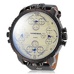 preiswerte Tolle Angebote auf Uhren-Herrn Militäruhr Duale Zeitzonen / Drei-Zeit-Zonen Leder Band Schwarz / Braun