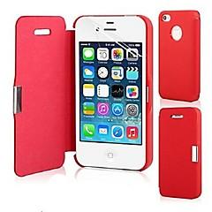 Недорогие Кейсы для iPhone 5-Кейс для Назначение iPhone 5 / Apple Кейс для iPhone 5 Флип / Магнитный Чехол Однотонный Твердый Кожа PU для iPhone SE / 5s / iPhone 5