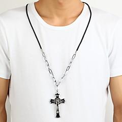olcso Nyakláncok-jézus cink ötvözet fekete ezüst keresztet kereszt medál nyaklánc