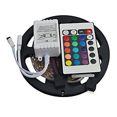 cheap LED Strip Lights-5M 300EDs 3528 RGB Not Waterproof with 24Keys IR Remote Controller Flexible LED Light Strips