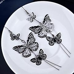 preiswerte Ohrringe-Damen Mehrschichtig Tropfen-Ohrringe - vergoldet Schmetterling, Tier Retro, Mehrlagig Gold / Schwarz / Silber Für