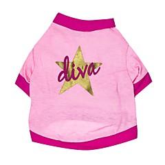 billige Hundetøj og tilbehør-Kat Hund T-shirt Hundetøj Stjerner Lys pink Bomuld Kostume For kæledyr