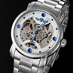 voordelige Horloges met stalen band-WINNER Heren mechanische horloges Skeleton horloge Automatisch opwindmechanisme Hol Gegraveerd Roestvrij staal Band Amulet Zilver