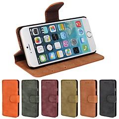 Недорогие Кейсы для iPhone 6 Plus-Кейс для Назначение Apple iPhone 6 iPhone 6 Plus Бумажник для карт Кошелек со стендом Флип Матовое Чехол Сплошной цвет Твердый Кожа PU для