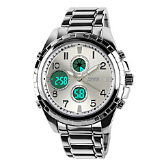 SKMEI Heren Militair horloge Kwarts Japanse quartz LCD Kalender Chronograaf Waterbestendig Dubbele tijdzones alarm Roestvrij staal Band