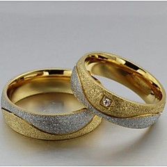 preiswerte Ringe-Damen Eheringe Statement-Ring - Titanstahl, Diamantimitate Liebe 5 / 6 / 7 / 8 / 9 Gold / Weiß Für Hochzeit Party Alltag / 2pcs