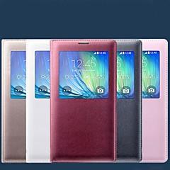 Χαμηλού Κόστους Galaxy A7 Θήκες / Καλύμματα-tok Για Samsung Galaxy Samsung Galaxy Θήκη με παράθυρο Αυτόματη αδράνεια / αφύπνιση Ανοιγόμενη Πλήρης Θήκη Συμπαγές Χρώμα PU δέρμα για A7