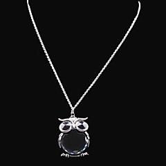Dame Halskøde med medaljon Ugle Rhinsten Glas Legering Mode Sort Smykker For Bryllup Fest Daglig Afslappet 1 Sæt