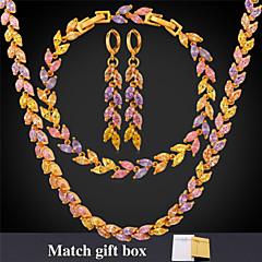 abordables Joyería para Mujer-u7® circones lujosos collares encanto de las mujeres de 18 quilates de oro / platino plateado multicolor aretes pulseras tenis sistemas de