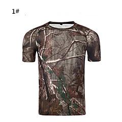Tricou Camuflaj Vânătoare Impermeabil Uscare rapidă Respirabil Unisex Manșon scurt Clasic Zvelt camuflaj Tricou Topuri pentru Camping &