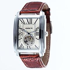 tanie Bestsellery-Męskie Szkieletowy zegarek mechaniczny Nakręcanie automatyczne Wodoszczelny Skóra Pasmo Ekskluzywne Czarny Brązowy Gold White Black