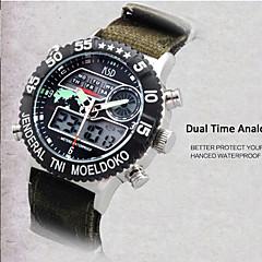 preiswerte Herrenuhren-Herrn Armbanduhr Digital 30 m Wasserdicht Alarm Kalender Nylon Band Analog-Digital Charme Schwarz / Grün - Schwarz Grün / Edelstahl / Chronograph / LED / Duale Zeitzonen