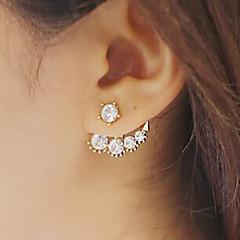 billige Drop Øreringe-Dame Perle Imiteret Perle Kvadratisk Zirconium Dråbeøreringe - Mode Guld Øreringe Til Daglig