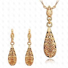 Biżuteria Ustaw 18K złoty Modny Kropla Gold Zestawy biżuterii Impreza Specjalne okazje Urodziny Prezenty ślubne