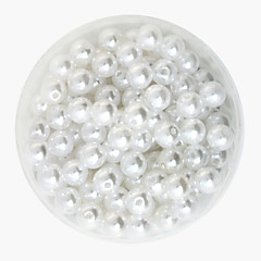 Beadia 64g(Approx 300Pcs)  ABS Pearl Beads 8mm Round White Color Plastic Loose Beads DIY Accessories