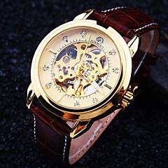 preiswerte Herrenuhren-Herrn Automatikaufzug Mechanische Uhr Armbanduhr Wasserdicht Transparentes Ziffernblatt Leder Band Luxus Braun