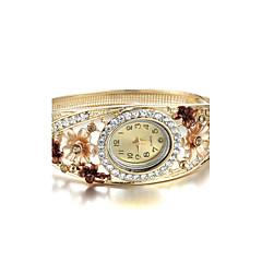 お買い得  大特価腕時計-女性用 リストウォッチ クォーツ 模造ダイヤモンド 合金 バンド ハンズ 花型 バングル ファッション ゴールド - レッド グリーン 虹色