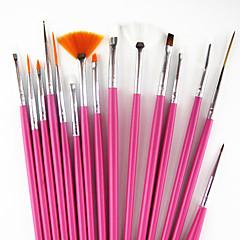 15pcs rózsaszín fogantyú köröm tervezés festészet rajz tollal ecset készlet&5db 2-utas pontozás marbleizing toll eszközt