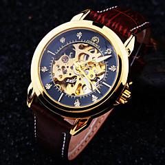 お買い得  メンズ腕時計-男性用 リストウォッチ 機械式時計 自動巻き 30 m 耐水 透かし加工 レザー バンド ハンズ ぜいたく ブラウン - ブラックとコーヒー ブラウン / ホワイト ブラウン-ゴールド / ステンレス