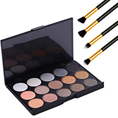 15 kleuren professionele warme make-up naakt oogschaduw parel licht shimmer palet cosmetische + 4 stuks potlood make-up borstel