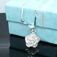 preiswerte Halsketten-Damen Anhängerketten  -  Sterling Silber, versilbert Rosen, Blume Silber Modische Halsketten Für
