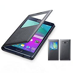 Χαμηλού Κόστους Galaxy A5 Θήκες / Καλύμματα-Για Samsung Galaxy Θήκη με παράθυρο / Ανοιγόμενη tok Πλήρης κάλυψη tok Μονόχρωμη Συνθετικό δέρμα Samsung A8 / A7 / A5 / A3