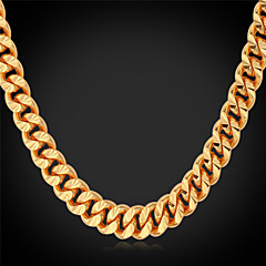 cheap Necklaces-Men's Gold Plated Choker Necklace Chain Necklace Collar Necklace - Fashion Gold Necklace For Wedding Party Daily Casual